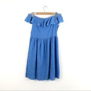 Mango Blue Textured Off Shoulder Ruffle Midi Dress